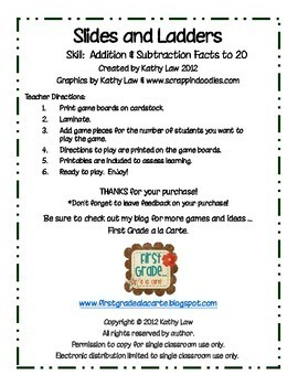 slides and ladders addition subtraction facts to 20 by kathy law. Black Bedroom Furniture Sets. Home Design Ideas
