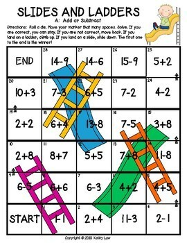 Slides and Ladders--All Mixed Up: Addition & Subtraction Facts to 20