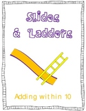 Slides and Ladders Common Core Math Folder Game Add Within 10 w I Can Sentences