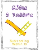 Slides and Ladders Common Core Math Folder Game Subtract to 10 w I Can Sentences