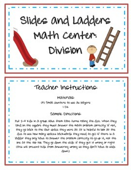 Slides and Ladders Division Math Center