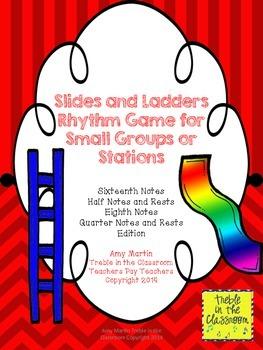 Slides and Ladders: Rhythm Reading Game Sixteenth, Half, Quarter, Eighth Edition
