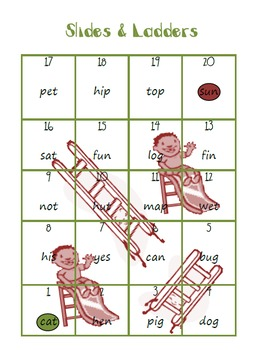 Slides and Ladders Short Vowels Game