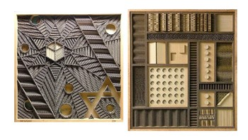 Slideshow Presentation: Monochrome Composition with Cardboard Relief Shapes