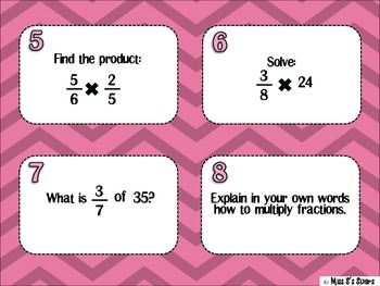 Slidin' Through Multiplying Fractions Task Cards
