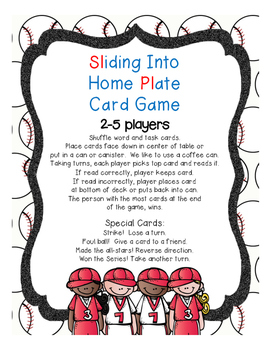 Sliding Into Home Plate (beginning/ending consonant blends)