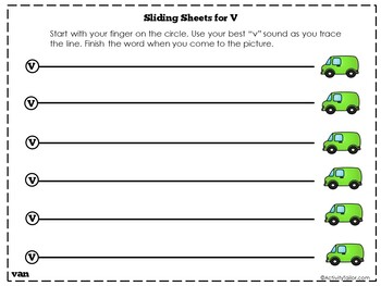 Sliding Worksheets for F and V Articulation Practice
