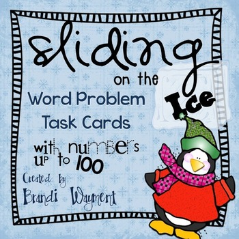 Penguin Word Problem Task Cards to 100