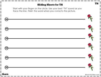 Sliding worksheet for TH articulation practice