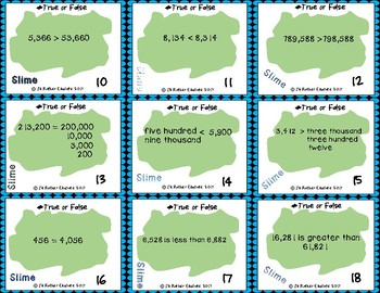 Slime Place Value , True or False Task Cards, Grades 4-5