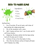 Slime Recipe (following directions, sequencing)