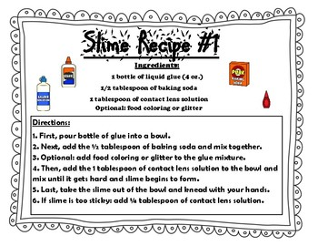 Slime Recipe Activity: States of Matter