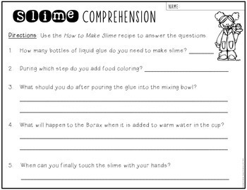 Slime Recipe & Comprehension Questions FREEBIE