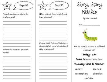 Slimy, Spiny Riddles Trifold - 4th Grade Literacy by Design Theme 3