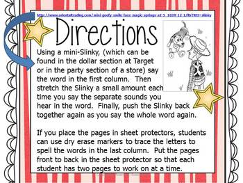 Slinky Stretching CCVC Words~ Regular and Non-Sense Words!