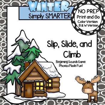 Slip, Slide, and Climb:  NO PREP Winter Beginning Sounds Game