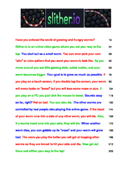 Slither.io  SlitherO FLUENCY Passage 3rd Grade Readability