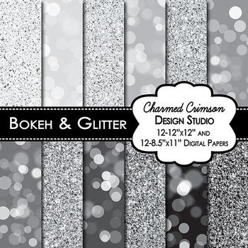 Sliver and Black Bokeh Glitter Digital Paper