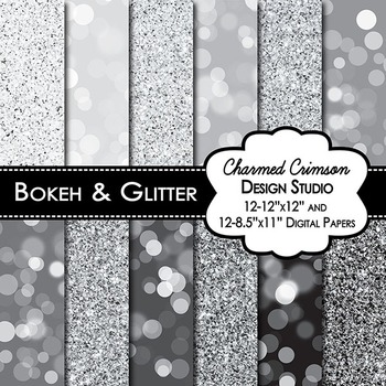 Sliver and Black Bokeh Glitter Digital Paper