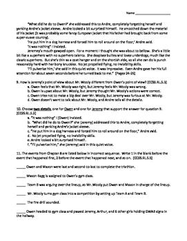 Slob by Ellen Potter Common Core Aligned Novel Assessment