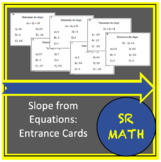 Slope from Equations: Entrance Cards
