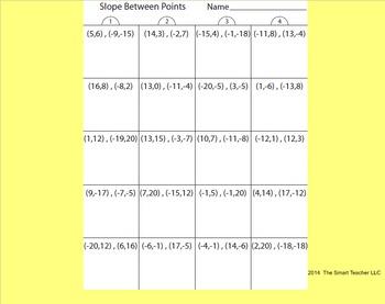 Slope Between Points Worksheet
