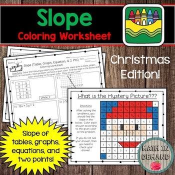 Slope Coloring Worksheet (Christmas Edition)