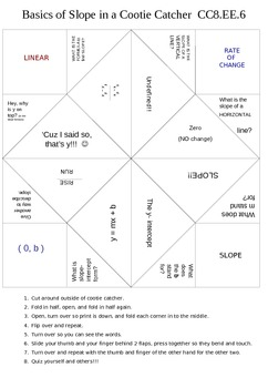 Slope:  Cootie Catcher Covering SLOPE!  CC8.EE.6