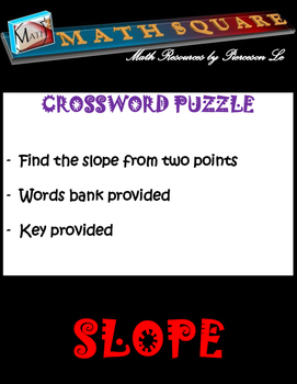 Finding the Slope from Two Points Crossword Puzzle