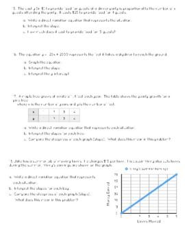 Slope, Direct Variation, Slope Intercept Form Quiz