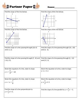 Slope & Equations with Parallel & Perpendicular Lines Partner Paper