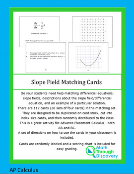 Slope Field Matching Cards
