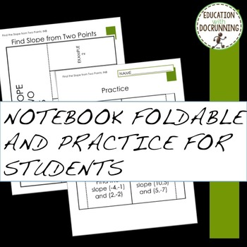 Slope Find the Slope from 2 points Interactive Notebook foldable (8.EE.B.6.)