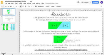 Slope Formula DIGITAL Matching Activity for Google Drive™
