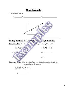 Slope Formula Guided Notes, Homework Powerpoint Keys