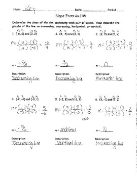 Slope Formula Homework ANSWER KEY