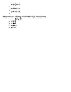 Slope Formula Multiple Choice Test