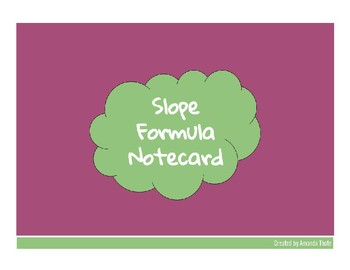 Slope Formula Notecard