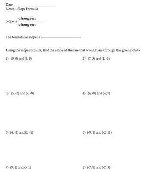 Slope Formula - Notes & Homework