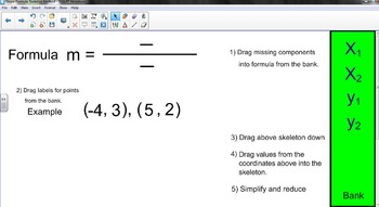 Slope Formula Skeleton Method with Foldable & Smartboard guided practice