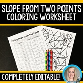 Slope From Two Points Coloring Worksheet - Editable