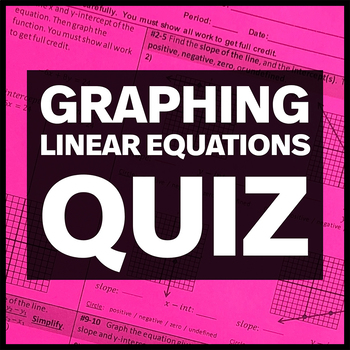 Slope, Graphing Linear Equations, & X- and Y- Intercepts Quiz
