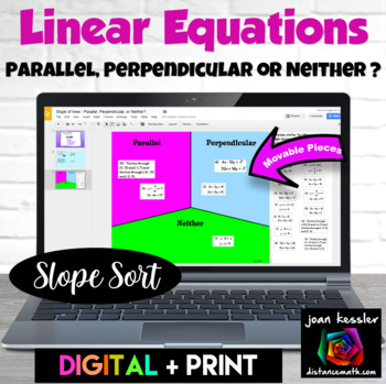Linear Equations - Parallel Perpendicular or Neither  with GOOGLE Slides