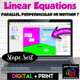 Parallel and Perpendicular Lines Linear Equations Digital Sort