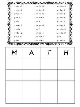 Slope-Intercept Equation MATH Bingo