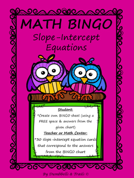 Slope-Intercept Equation MATH Bingo
