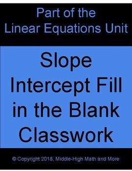 Slope-Intercept Fill in the Blank Activity