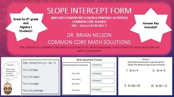 Slope Intercept Form - A PowerPoint Lesson and Printables