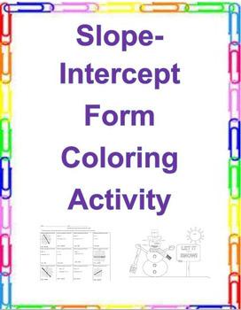 Slope-Intercept Form Coloring Activity (8.EE.B.5, 8.EE.B.6)