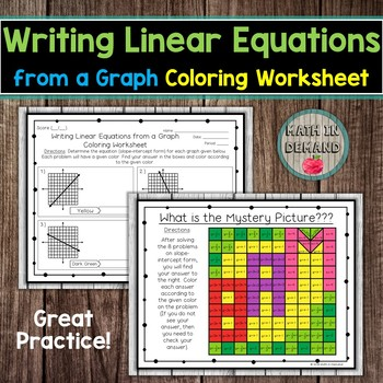 Writing Linear Equations From A Graph Coloring Worksheet By Math In